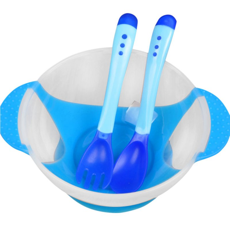 Baby Kids Feeding Suction Bowl Temperature Sensing Spoon Child Tableware Set by MAXSUN