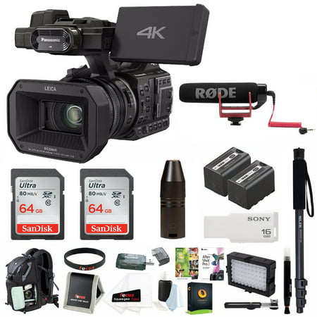 Panasonic HC-X1000 4K Ultra HD Pro Camcorder w/ Backpack & Microphone Bundle