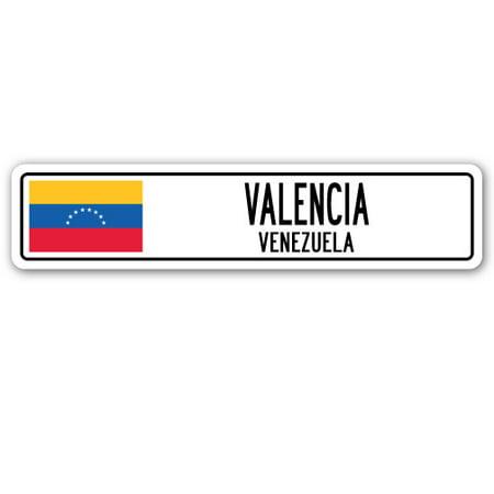 VALENCIA, VENEZUELA Street Sign Venezuelan flag city country road wall (Valencia Shopping Mall)