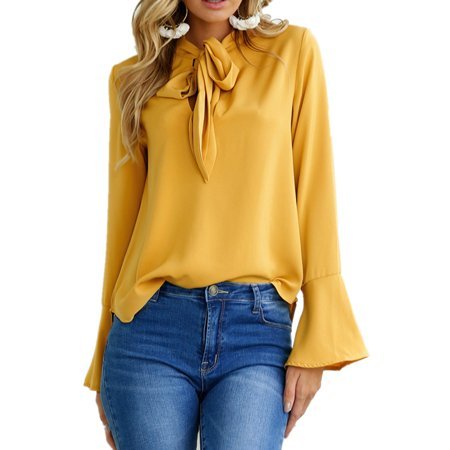 Short Sleeve Bow Tie - Womens Trumpet Sleeve Tie Bow Long Sleeved Solid Blouses