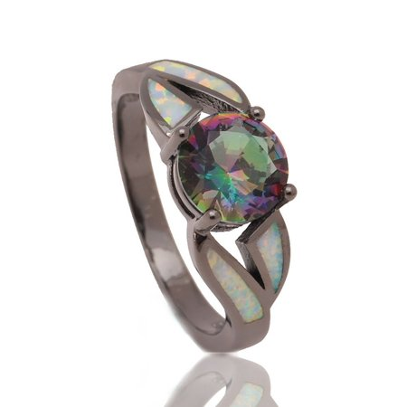 White Fire Opal Wide Band - Dierdre Mystic CZ Black Plated Lab Created Fire Opal Ring - Ginger Lyne Collection