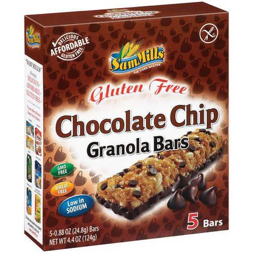 Sam Mills Gluten Free Chocolate Chip Granola Bars, 4.4 oz, (Pack of 12)