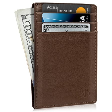89ebfbac1129 Slim Minimalist Wallets For Men & Women - Genuine Leather Credit Card  Holder Front Pocket RFID Blocking Wallet With Gift Box
