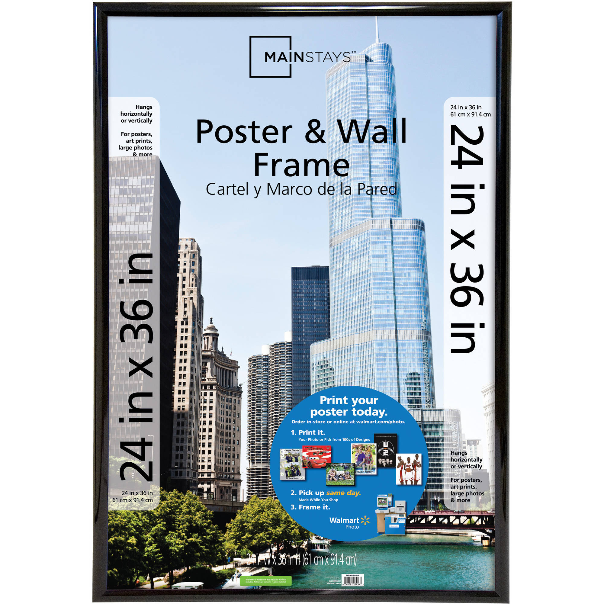 Mainstays 24x36 Trendsetter Poster and Picture Frame, Black