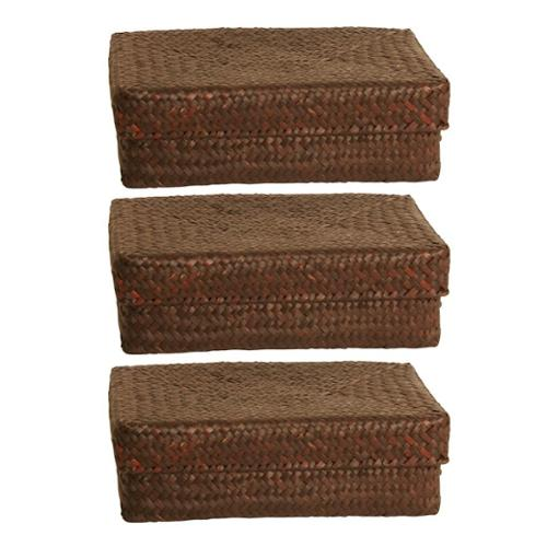 Wald Imports  Espresso Seagrass-reed Basket with Lid (set of 3)