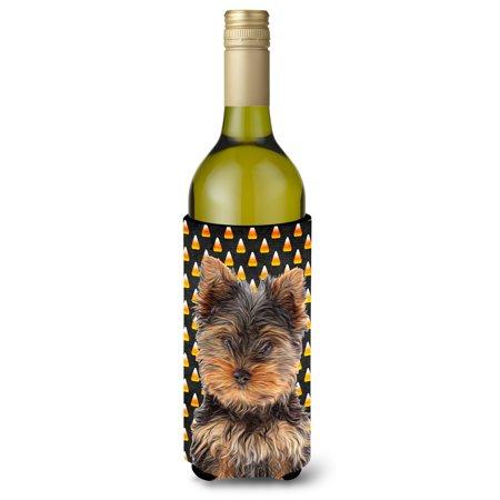 Candy Corn Halloween Yorkie Puppy / Yorkshire Terrier Wine Bottle Beverage Insulator Hugger KJ1216LITERK](Yorkshire Halloween)