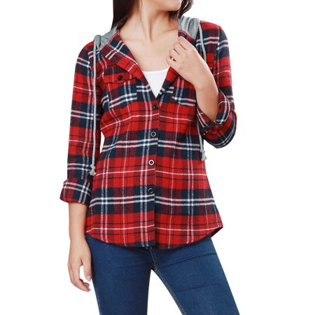 Women's Chic Check Pattern Button-Front Hooded Shirt Blouse Top Red M (US 10) (Front Check)