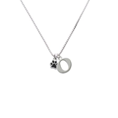 Silvertone Mini Translucent Black Paw - O - Initial Necklace (Black Transparent Necklace)