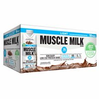 Muscle Milk Light Protein Shake, Chocolate, 20g Protein, 11 Fl Oz, 18 Ct