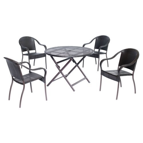 Hanover Orleans Aluminum 5 Piece Round Patio Dining Set