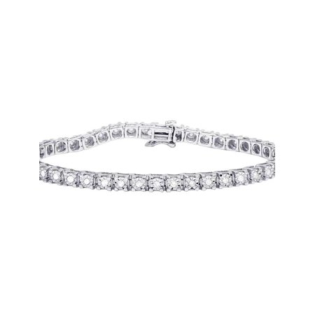 "White Gold Finish 1 Row Real Diamond Fanook Bracelet 1 CT 7.5"""