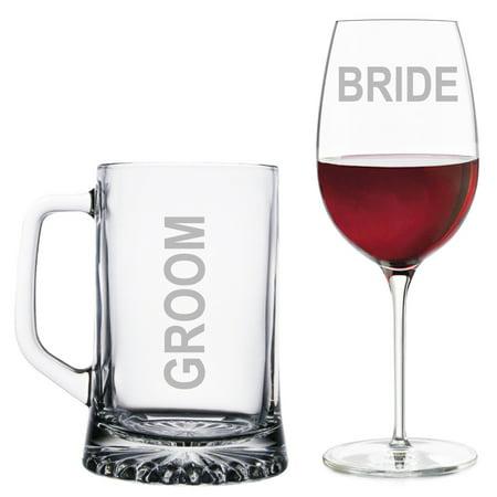 Groom Beer Mug and Bride Wine Glass Set (Bride And Groom Wine Glasses)
