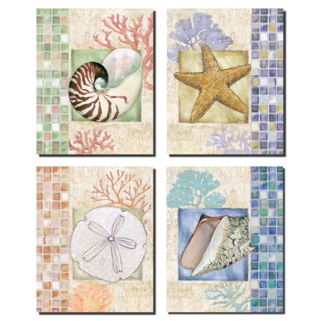 Beautiful Mosaic Seashell Starfish Sand dollar and Coral Collage; Coastal Decor; Four 8x10 Poster Prints