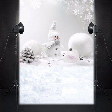 5x7FT Vinyl Cloth Christmas Snowman Snowball Background Backdrop Photography Studio Photo Props Festival Decoration - image 4 de 5