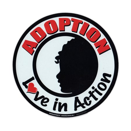 Action Magnet - Magnetic Bumper Sticker - Adoption - Love In Action - Round Magnet - 5.75
