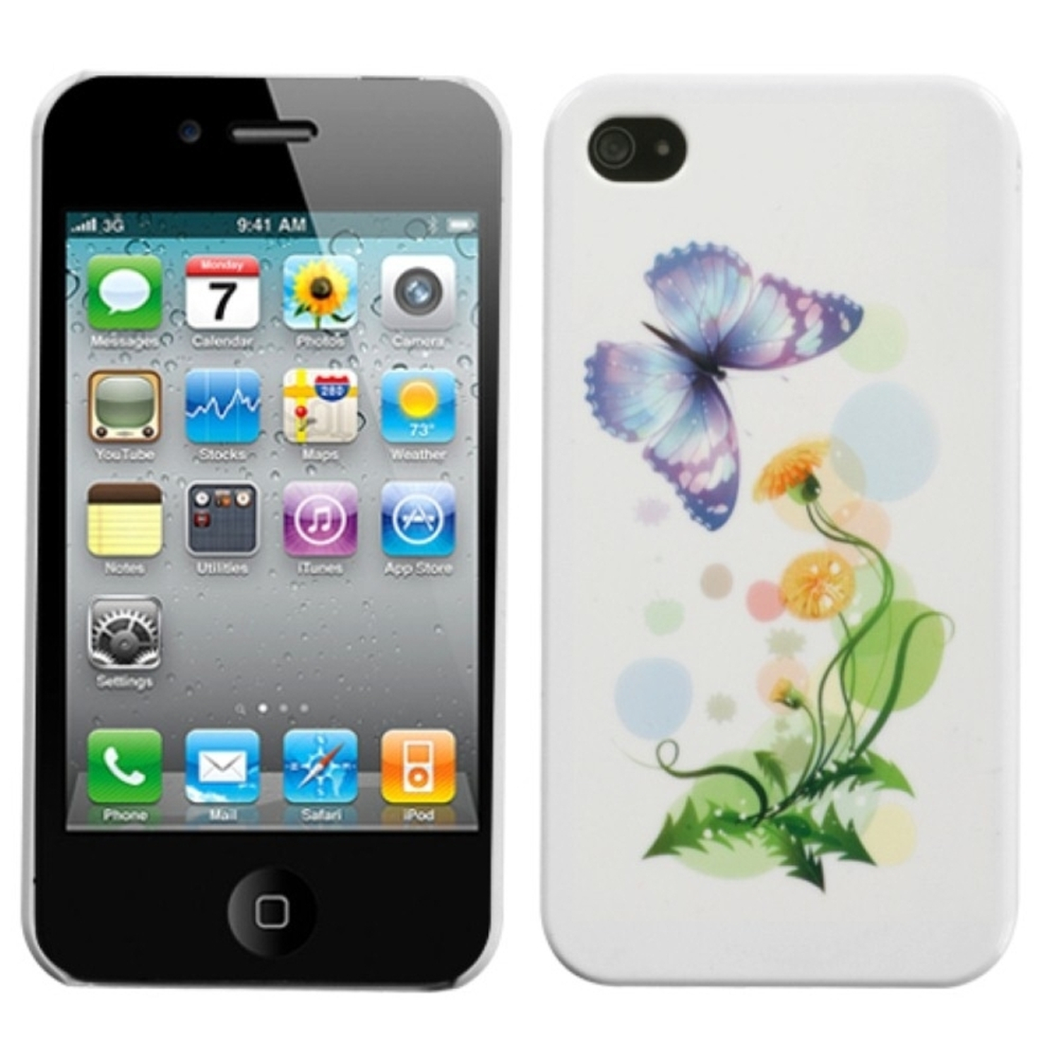Insten Indigo Butterfly Back Case For iPhone 4 4S