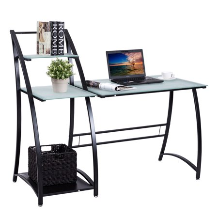 Gymax Computer Desk PC Laptop Table Glass Top Writing Study Workstation with
