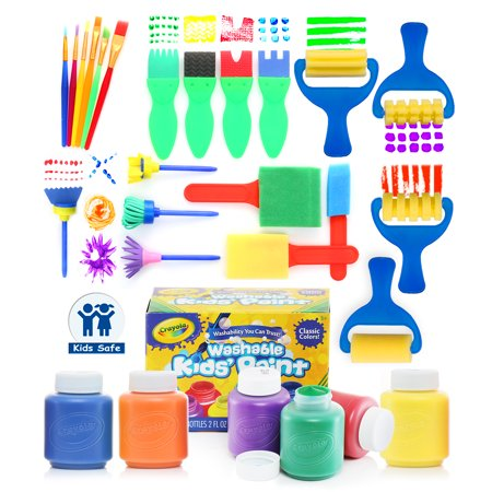 Glokers Early Learning Kids Paint Set, 28 Piece Mini Flower Sponge Paint Brushes. Assorted Painting Drawing Tools In a Clear Durable Storage Pouch. Including 6 Crayola Washable Kids Paint (Kiss Painting)