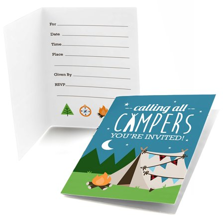 Happy Camper - Fill In Camping Baby Shower or Birthday Party Invitations (8 count)