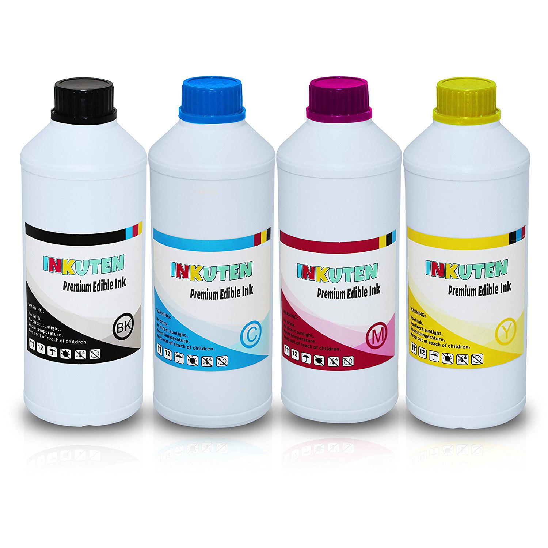 INKUTEN 250ml / 8.4 oz BK/C/M/Y Edible Ink Refill Bottle ...