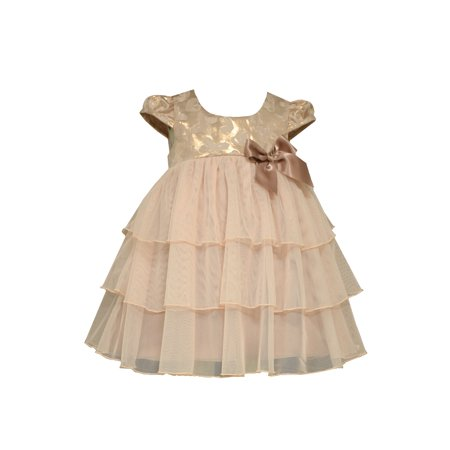 Bonnie Jean Baby Girls Metallic Jacquard Special Occasion Dress 0-3 months