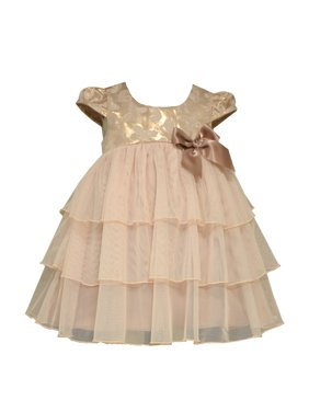 cbc20354166 Product Image Bonnie Jean Baby Girls Metallic Jacquard Special Occasion  Dress 0-3 months