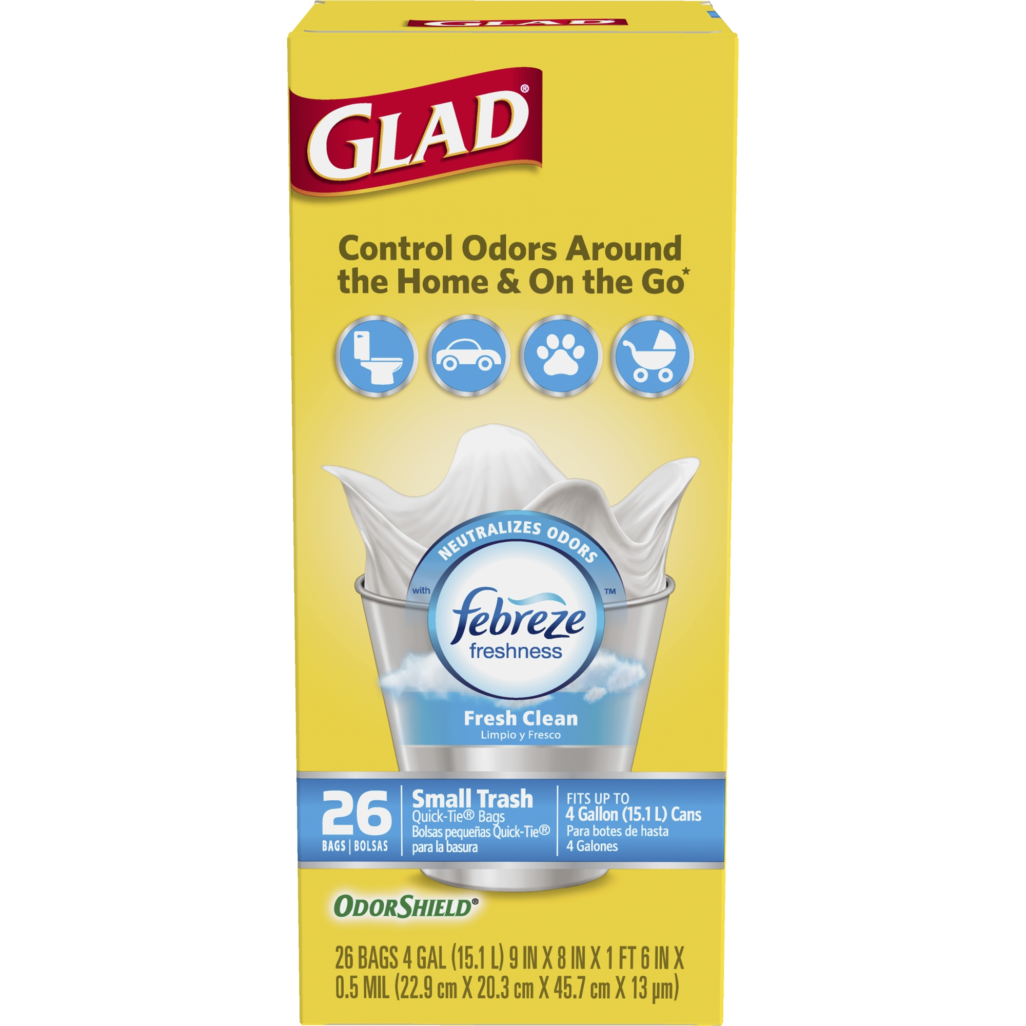 Glad Febreze Fresh Clean OdorShield Trash Bags, 4 Gallon, 26 Ct