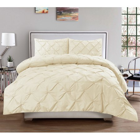 Hudson 3 Piece Pintuck Comforter Set Luxurious Pinch Pleat Wrinkle Resistant Oversized Bedding Queen Size - Ivory