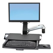 Ergotron StyleView Sit-Stand Combo System with Worksurface, Polished Aluminum/Black