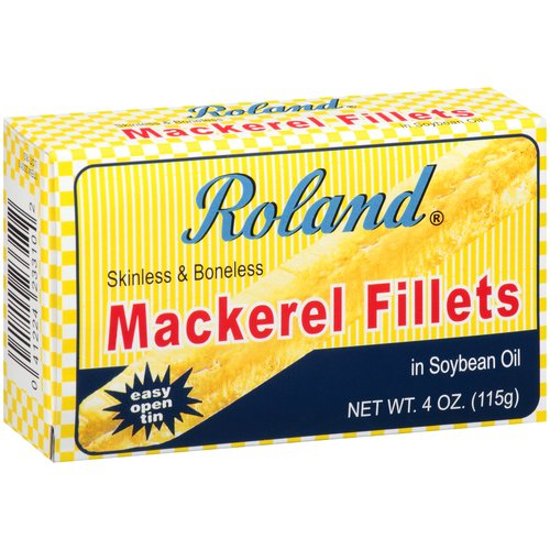 (4 Pack) Roland Skinless Boneless Mackerel Fillets in Soybean Oil, 4 oz