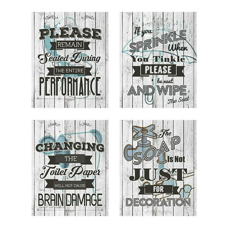 Business Basics Bathroom Quotes and Sayings Rustic Shabby Chic Art Prints | Set of Four Pictures 8x10 Unframed | Great Gift for Bathroom Décor | Designed and Printed in The U.S.A (Whitewash) ()