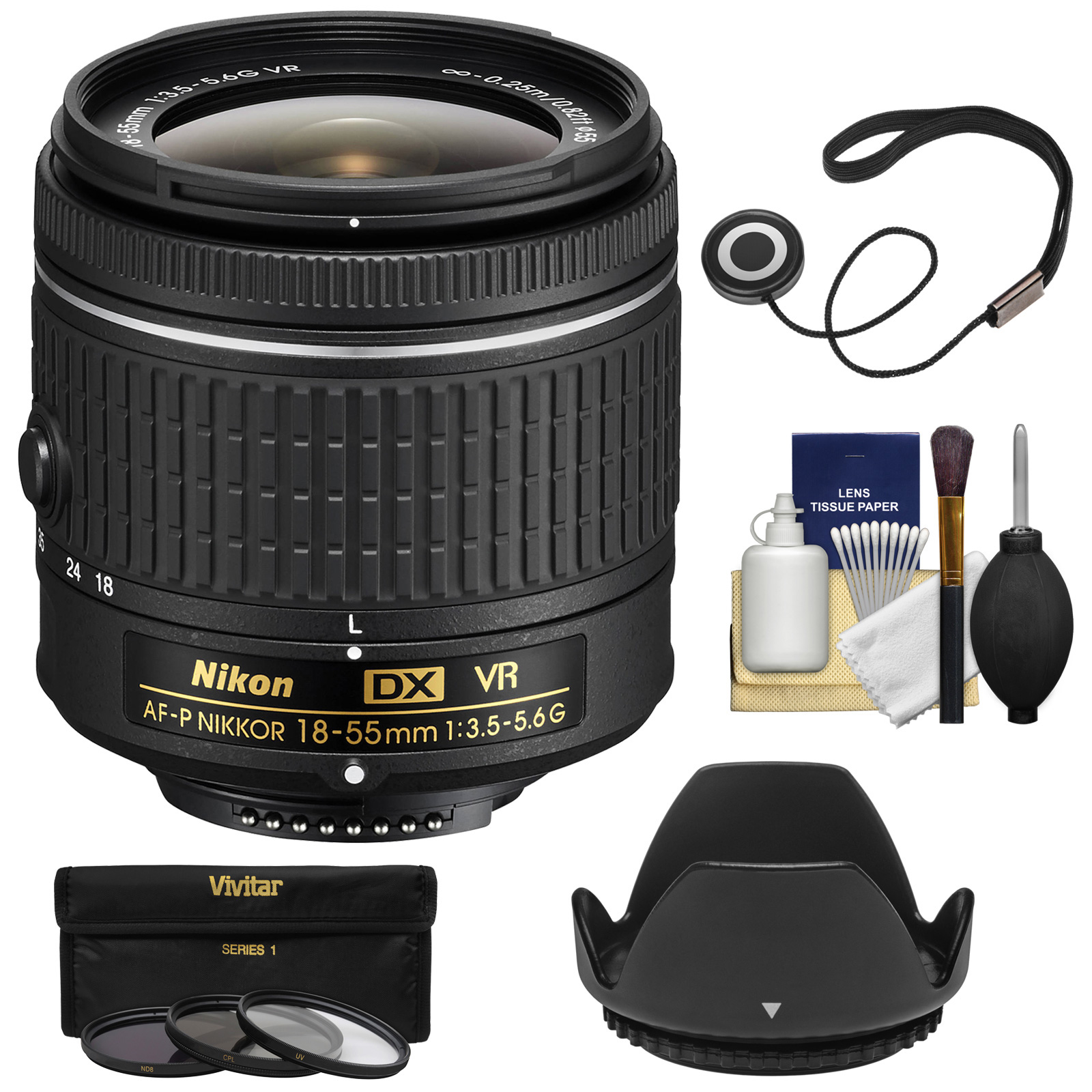 Nikon 18-55mm f/3.5-5.6G VR AF-P DX Zoom-Nikkor Lens - Factory Refurbished with 3 UV/CPL/ND8 Filters + Hood + Kit
