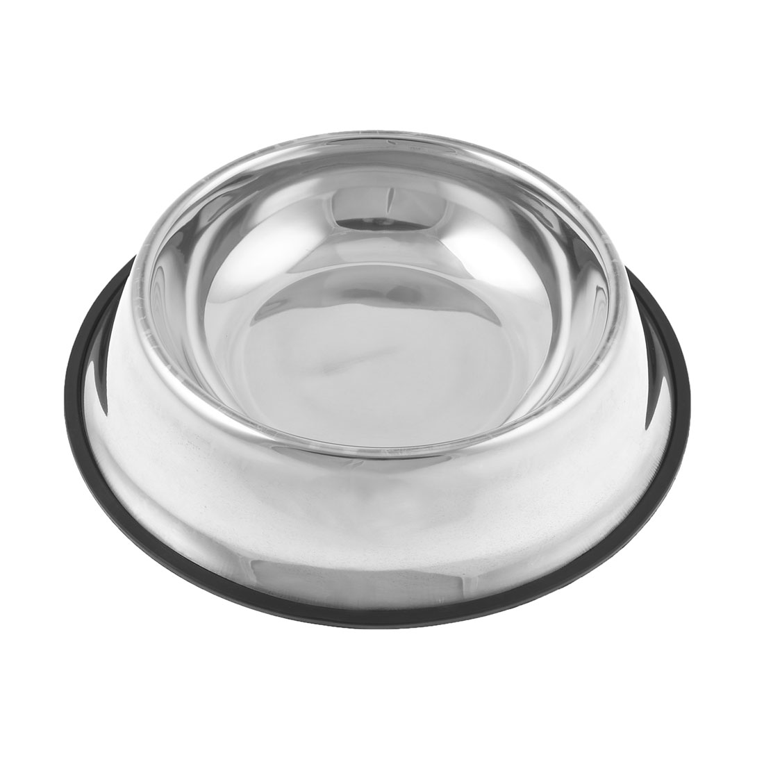 Unique Bargains Nonslip Rubber Ring Base Stainless Steel Cat Pet Dog Water Food Bowl 2.4
