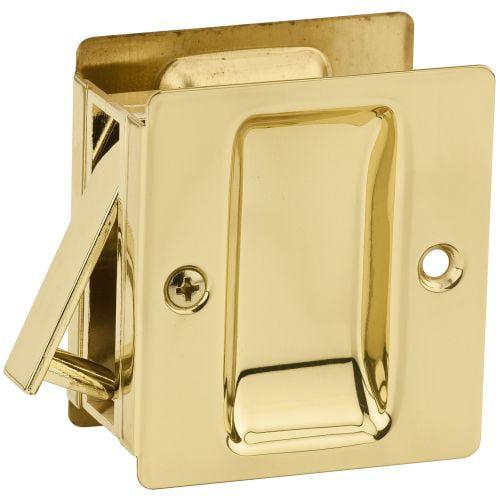 Kwikset Notch Hall & Closet 1.375 Inch Sliding Door Pocket Lock, Polished Brass