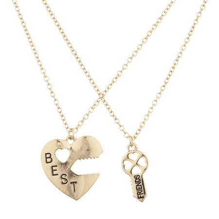 Key Charm Necklace (Lux Accessories Goldtone Best Friends BFF Heart Lock and Key Charm Necklace)