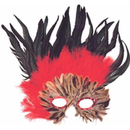 Adult Red & Black Feather Eye Mask (Red And Black Halloween Eyes)