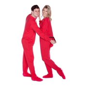 Red Cotton Jersey Knit Adult Footed Pajamas Sleeper w/ Drop seat