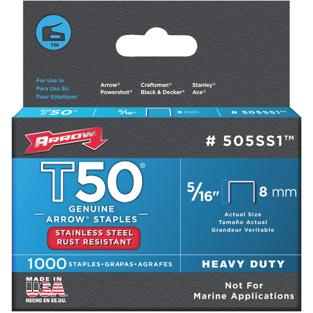 "Arrow Fastener Co. 505SS1 5/16"" T50 Stainless Steel Staples"