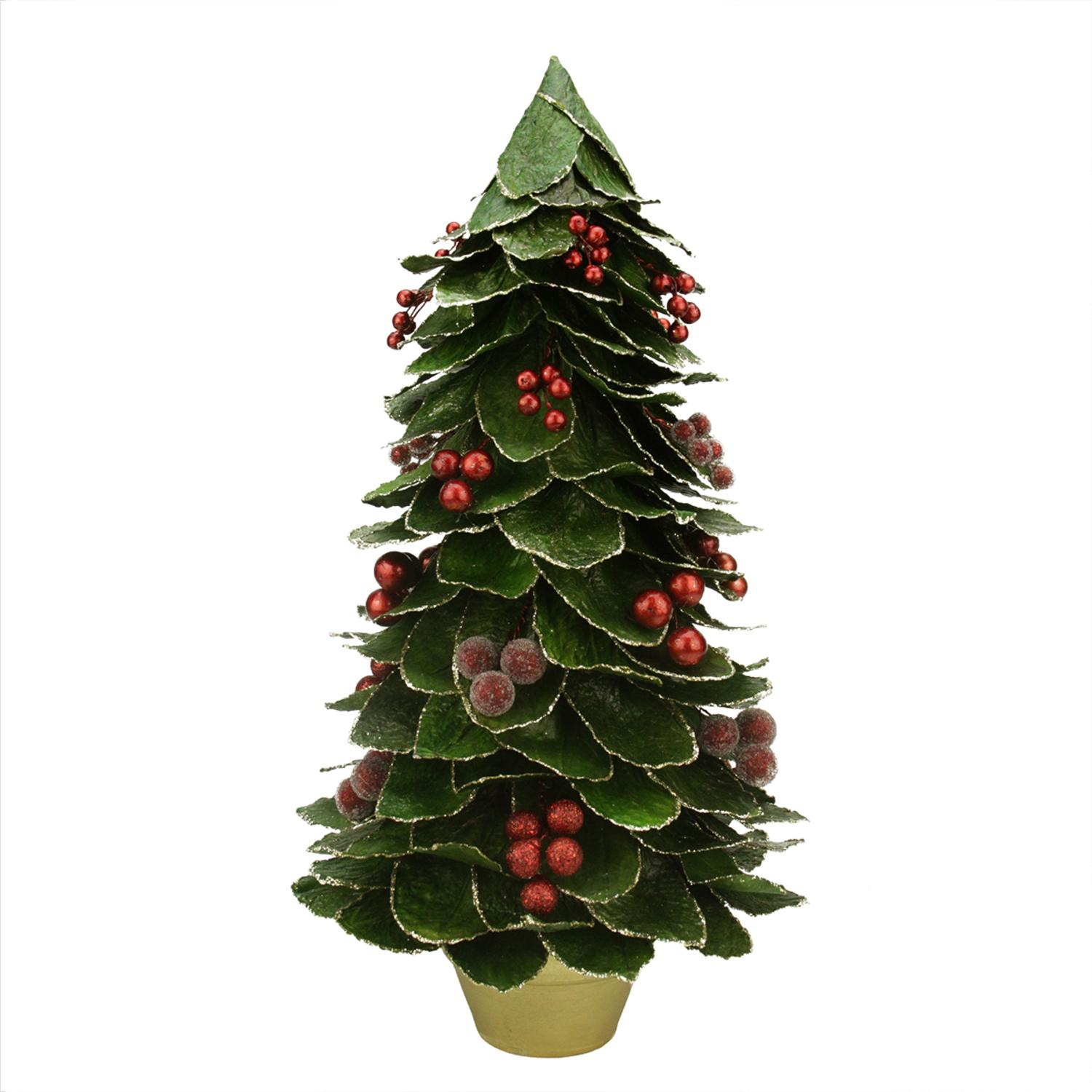 18 Green Holly Berry Glittered Leaf Potted Christmas Tree Table Top Decoration