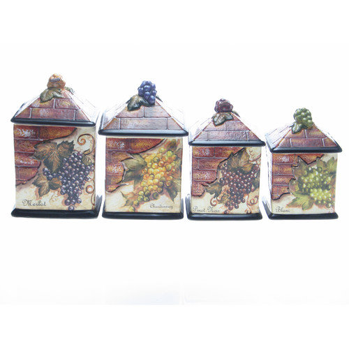 Certified International Wine Cellar by Tre Studios 4-Piece Canister Set