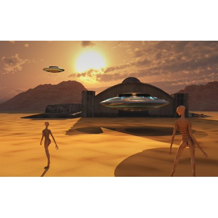 Alien Reptoids And Their Flying Saucers At Area 51 Canvas Art   Mark Stevensonstocktrek Images  18 X 12