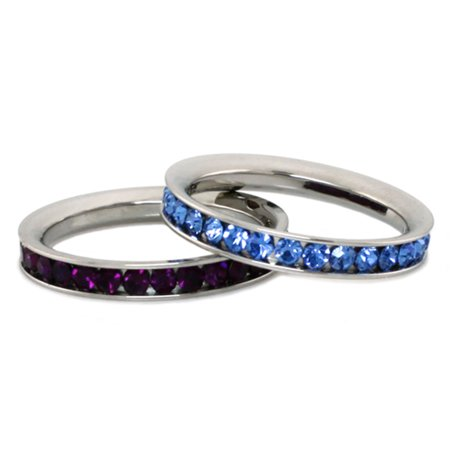 Mm Blue Star Sapphire - Stainless Steel Eternity 3 mm Blue Sapphire & Amethyst Color Crystal Stackable Rings (2 pieces) Set