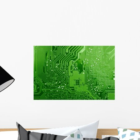 Board Vinyl Decal Sticker (Green Circuit Board Wall Mural Decal Sticker, Wallmonkeys Peel & Stick Vinyl Graphic (18 in W x 12 in H))