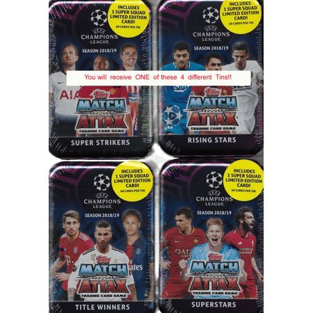 Limited Edition Tin (2018 2019 Topps UEFA Champions League Match Attax Card Game MEGA Collectors Tin with 60 Cards including a Limited Edition SUPER SQUAD Card and 15 EXCLUSIVE Insert)