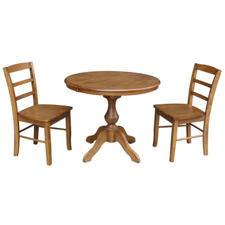 36 Round Dining Table With 12 Leaf And 2 Madrid Chairs Pecan
