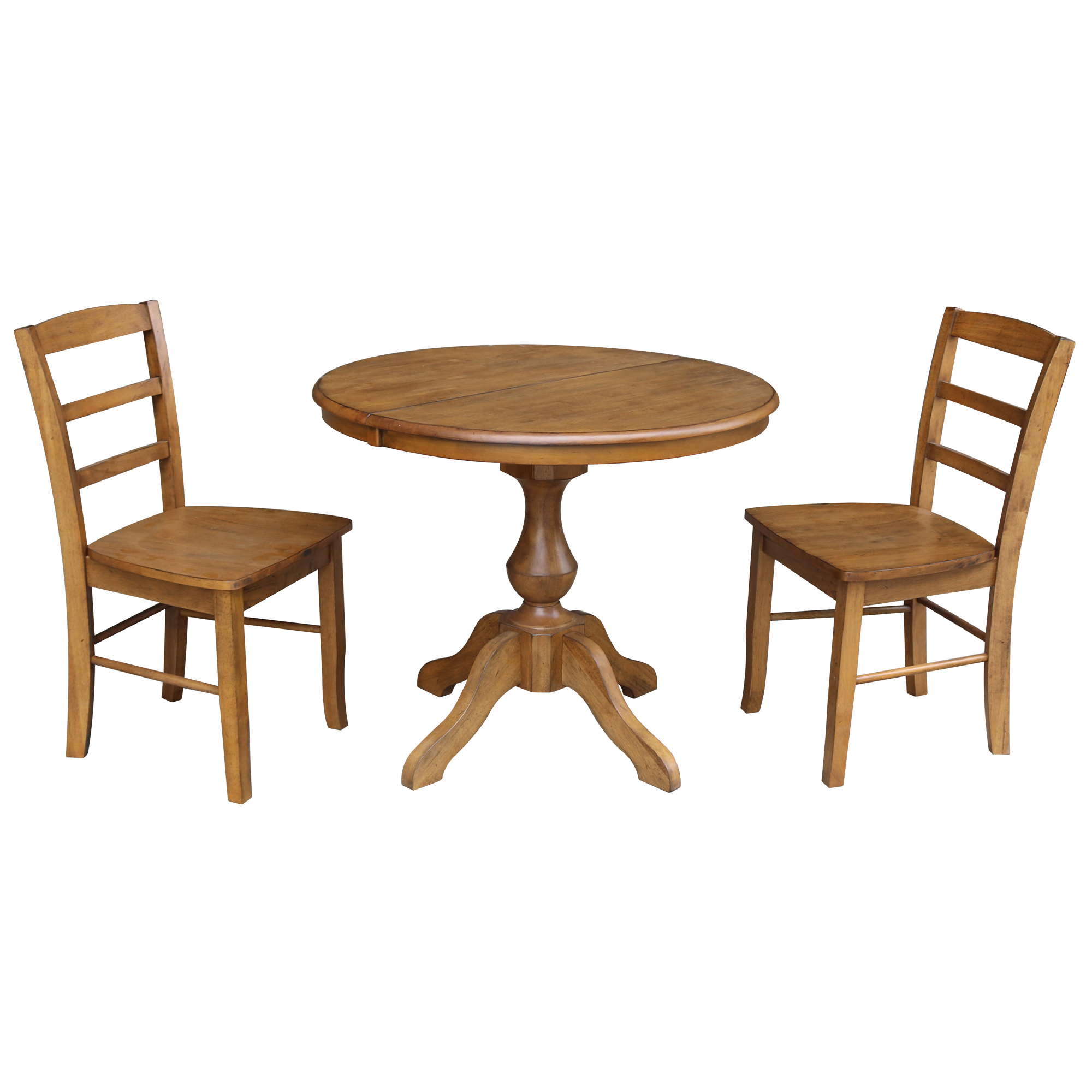"36"" Round Dining Table with 12"" Leaf and 2 Madrid Chairs - Pecan- 3 Piece Set"