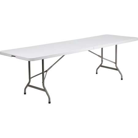 flash furniture 30x96 plastic bi fold table in granite white
