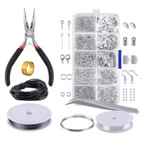Jewelry Making Supplies, EEEKit Jewelry Making Accessories Tool Kit Set Beading Wire Brass Ring Tweezer Pliers with Carrying Box for DIY Starter Beginner
