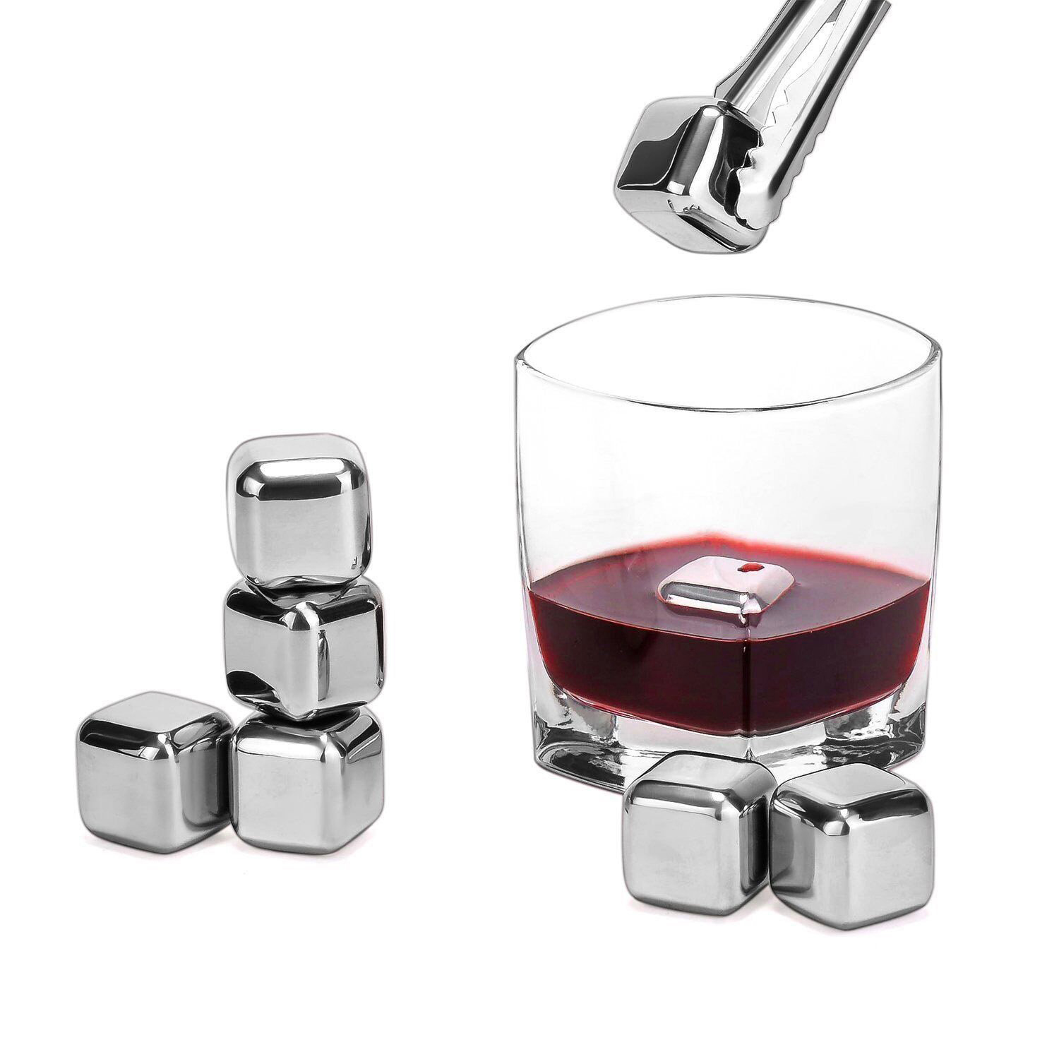 8pcs Stainless Steel Whiskey Ice Stones Reusable Wine Cooling Cubes with Ice Tongs by