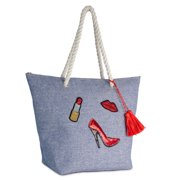 WOMEN'S DENIM COTTON BEACH TOTE WITH SEQUIN LIPSTICK, SHOE AND LIP PATCHES